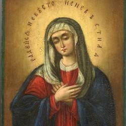 The Holy Virgin Diveevskaya (Affection) 19th century 18,3 x 14,6 x 1,9cm